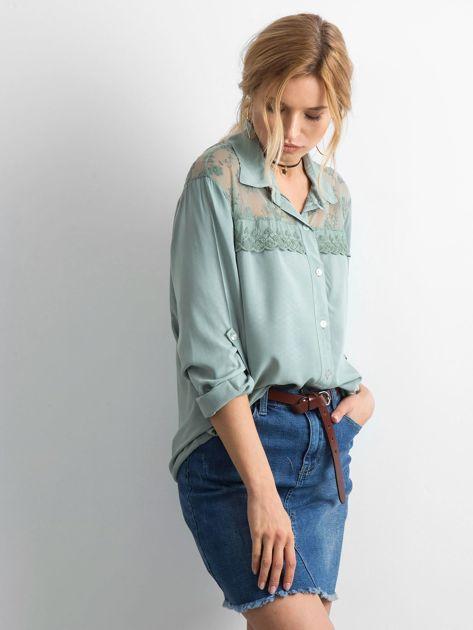 Khaki koszula z długim rękawem                               zdj.                              3