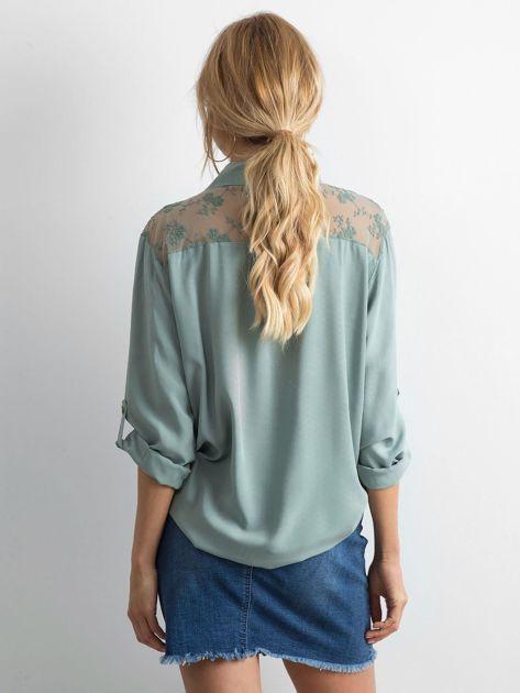 Khaki koszula z długim rękawem                               zdj.                              2