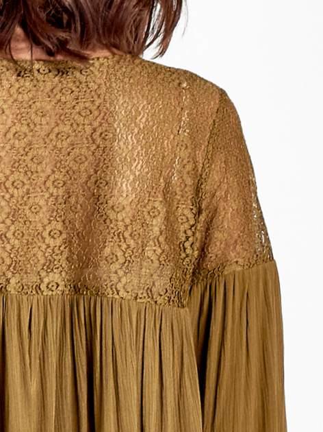 Khaki koszula z koronkową górą w stylu boho                                  zdj.                                  5
