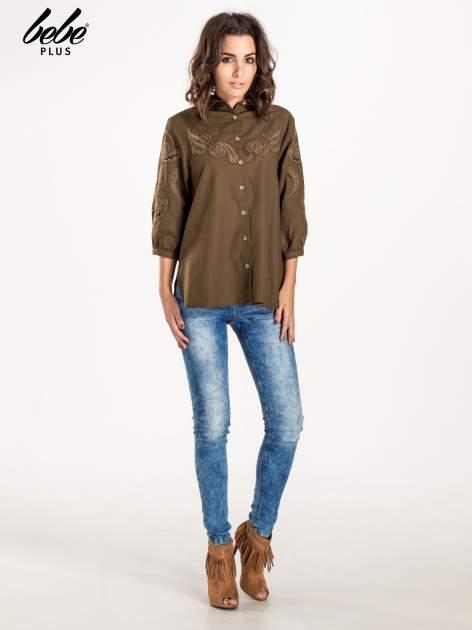 Khaki koszula z szerszymi rękawami                                  zdj.                                  2