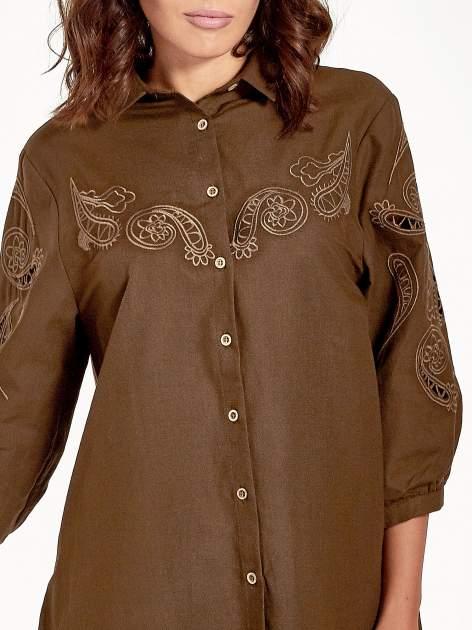 Khaki koszula z szerszymi rękawami                                  zdj.                                  4