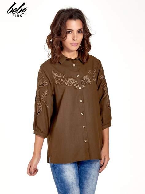 Khaki koszula z szerszymi rękawami                                  zdj.                                  1