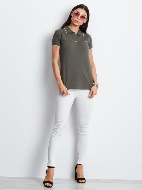 Khaki koszulka polo z motylem                              zdj.                              2
