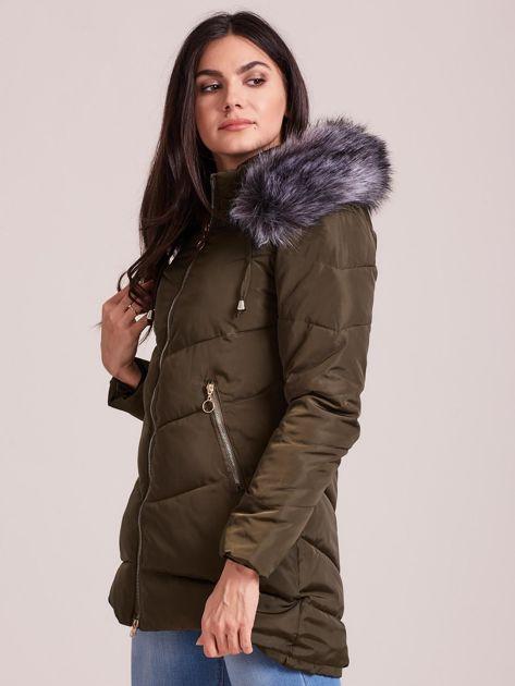 Khaki kurtka zimowa z kapturem i futerkiem                              zdj.                              5