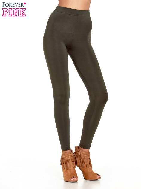 Khaki legginsy basic z lekkim ociepleniem