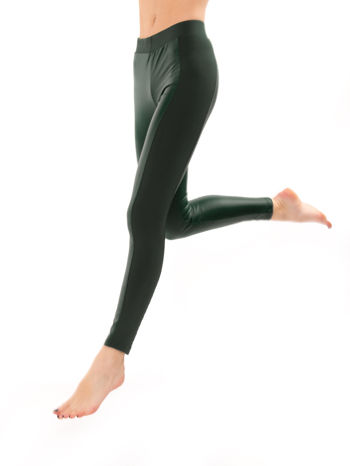 Khaki legginsy z łączonych materiałów                                  zdj.                                  5