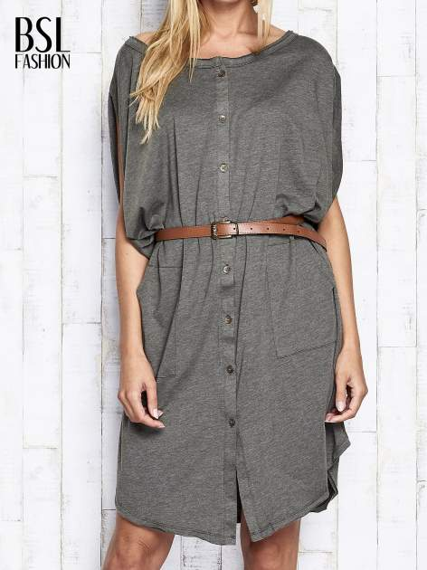Khaki melanżowa sukienka oversize z guzikami