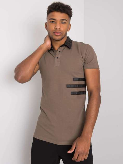 Khaki męska koszulka polo Vincent