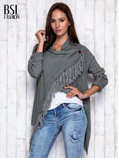 Khaki otwarty sweter z podwijanymi rękawami                                  zdj.                                  3