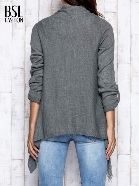 Khaki otwarty sweter z podwijanymi rękawami                                  zdj.                                  5