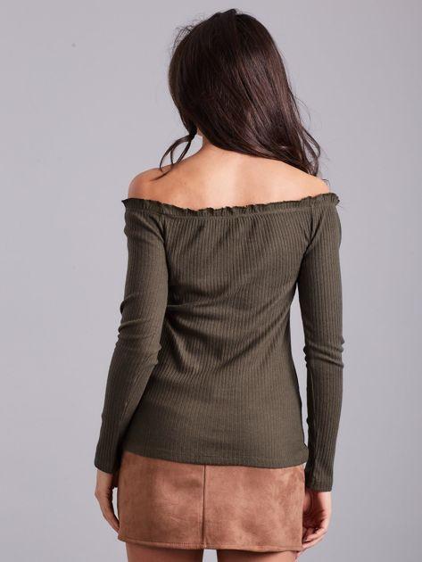 Khaki prążkowana bluzka hiszpanka                              zdj.                              2