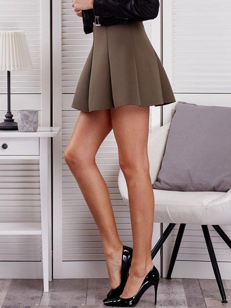Khaki rozkloszowana spódnica damska                                  zdj.                                  3