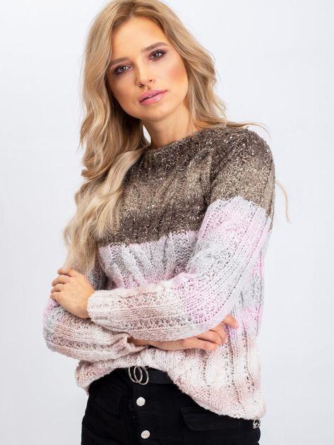 Khaki-różowy sweter Amelia                              zdj.                              1
