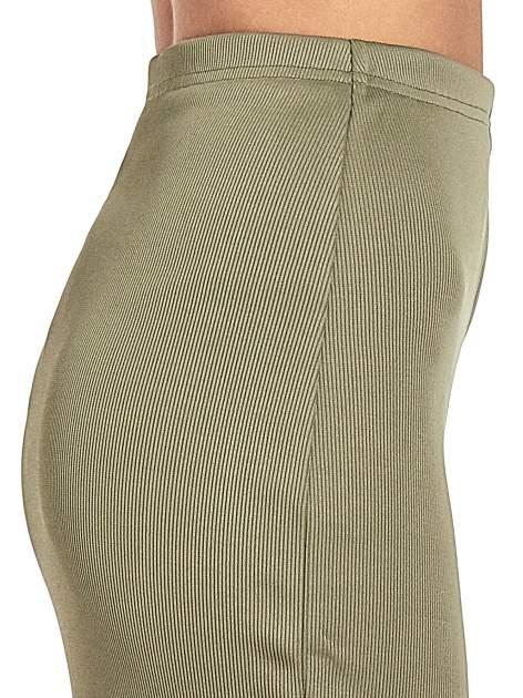 Khaki spódnica midi z suwakiem z przodu                                  zdj.                                  6