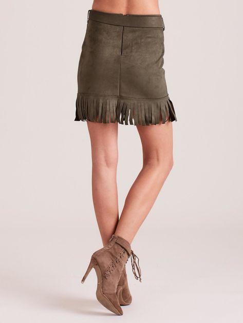 Khaki spódnica z frędzlami                              zdj.                              2