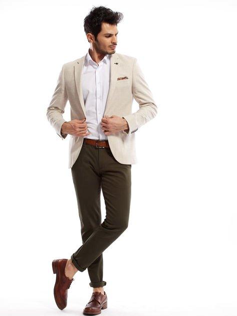 Khaki spodnie męskie chinos                              zdj.                              4