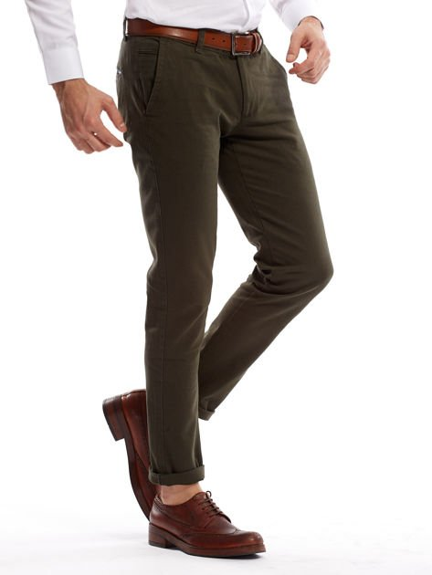 Khaki spodnie męskie chinos                              zdj.                              9