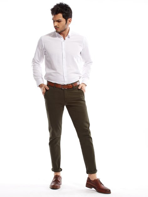 Khaki spodnie męskie chinos                              zdj.                              10