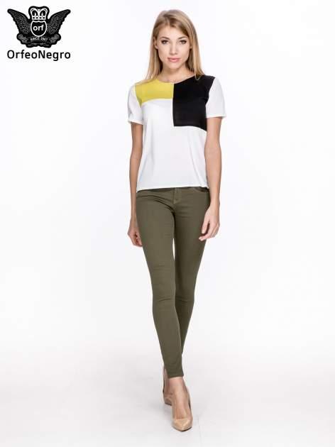 Khaki spodnie typu skinny z elastycznego materiału                                  zdj.                                  2