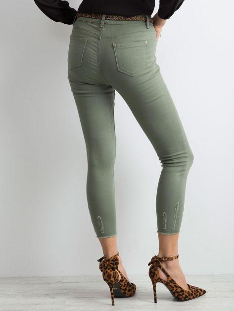 Khaki spodnie z przetarciami                              zdj.                              2