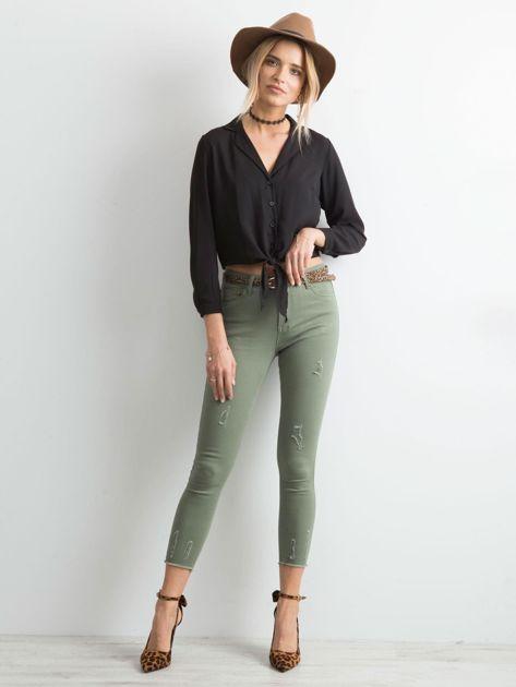Khaki spodnie z przetarciami                              zdj.                              4