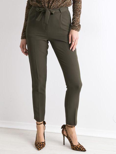 Khaki spodnie z wiązaniem                               zdj.                              1