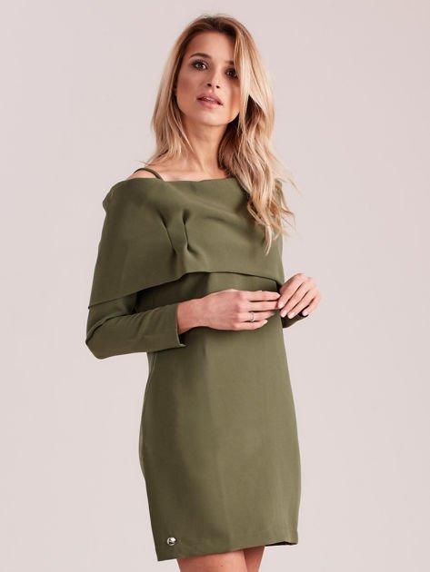 Khaki sukienka cold arms z szeroką falbaną                              zdj.                              3