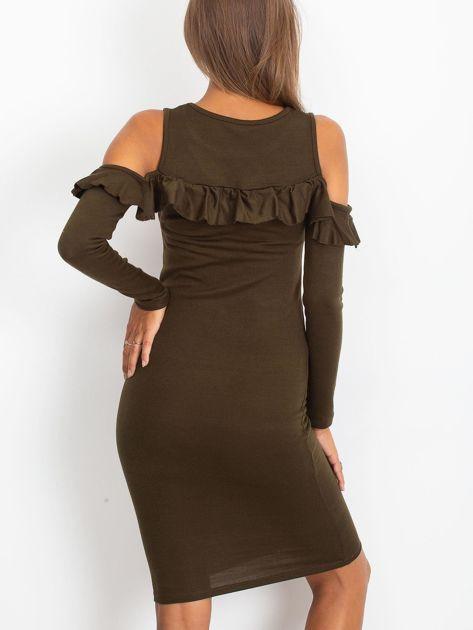 Khaki sukienka cut out z falbaną                              zdj.                              2