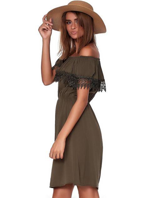 Khaki sukienka hiszpanka mini z falbanką przy dekolcie                              zdj.                              3