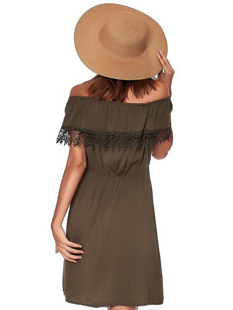 Khaki sukienka hiszpanka mini z falbanką przy dekolcie                              zdj.                              2