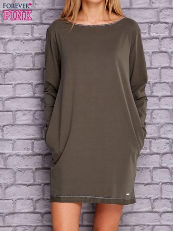 Khaki sukienka oversize z kieszeniami                                  zdj.                                  1