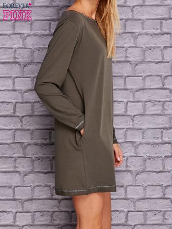 Khaki sukienka oversize z kieszeniami                                  zdj.                                  3