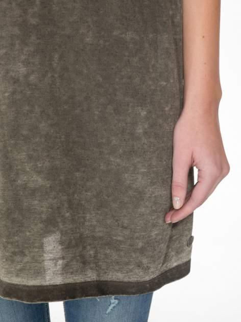 Khaki sukienka typu t-shirt bluzka z efektem dekatyzowania                                  zdj.                                  6