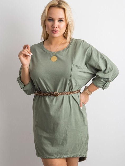 Khaki sukienka z bawełny                              zdj.                              1