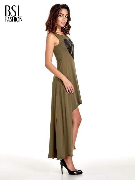 Khaki sukienka z dłuższym tyłem                                  zdj.                                  3