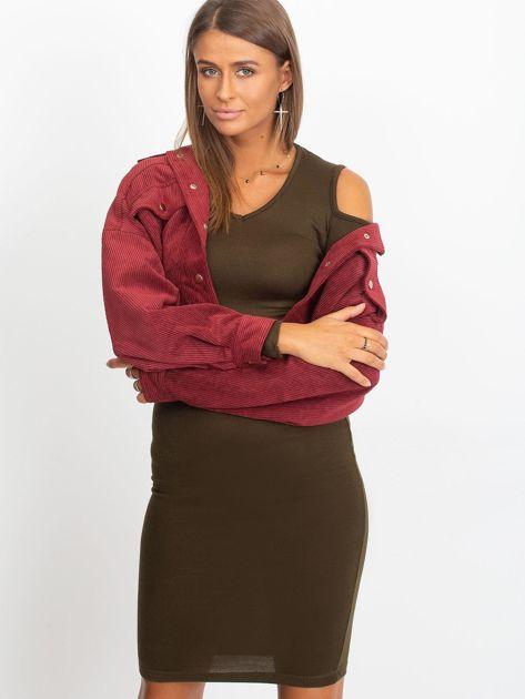 Khaki sukienka z dzianiny cold arms                               zdj.                              7