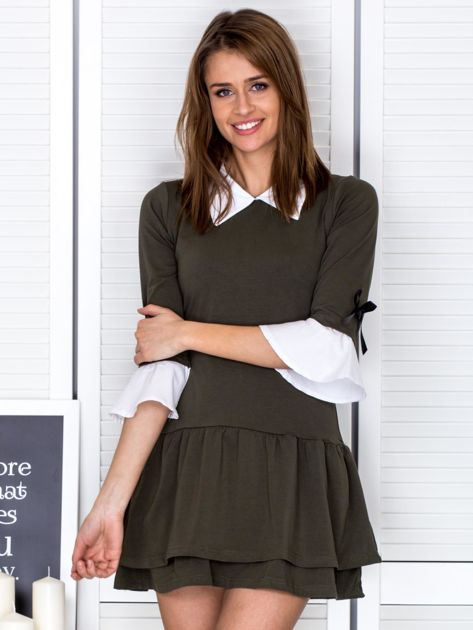 Khaki sukienka z kołnierzykiem i kokardkami                                  zdj.                                  1