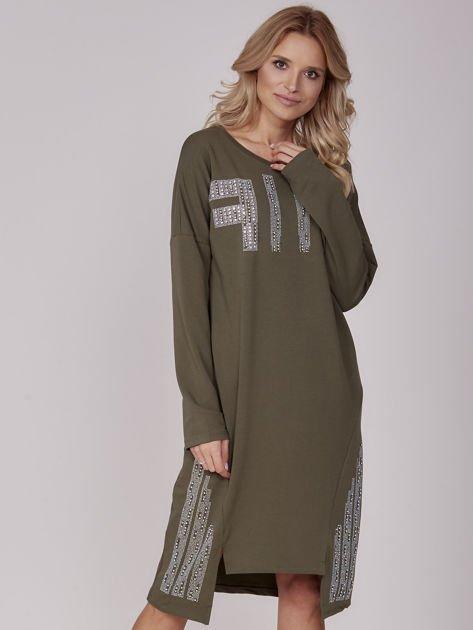 Khaki sukienka z perełkami i dżetami                                  zdj.                                  1