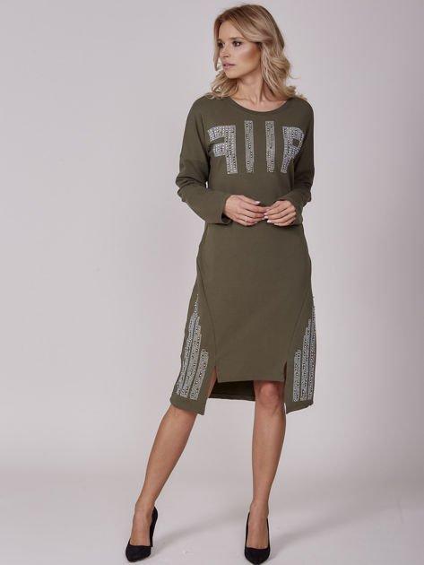 Khaki sukienka z perełkami i dżetami                                  zdj.                                  5