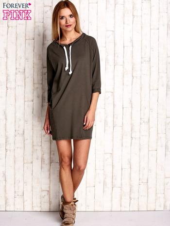 Khaki sukienka z troczkami                              zdj.                              2