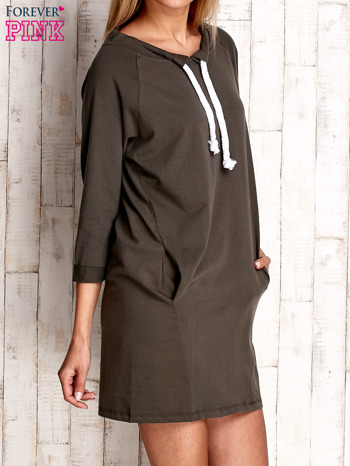 Khaki sukienka z troczkami                                  zdj.                                  3
