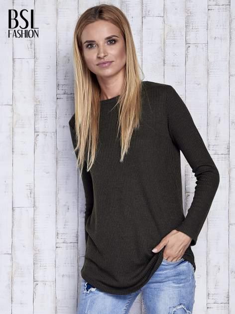 Khaki sweter w prążki                                  zdj.                                  3