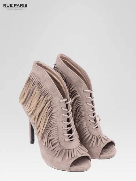 Khaki sznurowane botki faux suede Lea open toe z frędzlami                                  zdj.                                  6