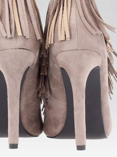 Khaki sznurowane botki faux suede Lea open toe z frędzlami                                  zdj.                                  8