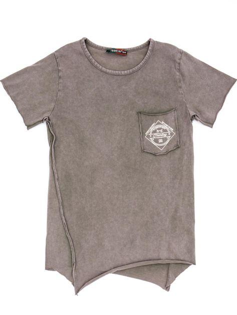 Khaki t-shirt dziecięcy z surowym wykończeniem i nadrukiem z tyłu                              zdj.                              1