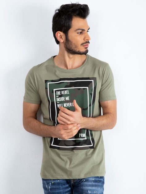 Khaki t-shirt męski Monsoon