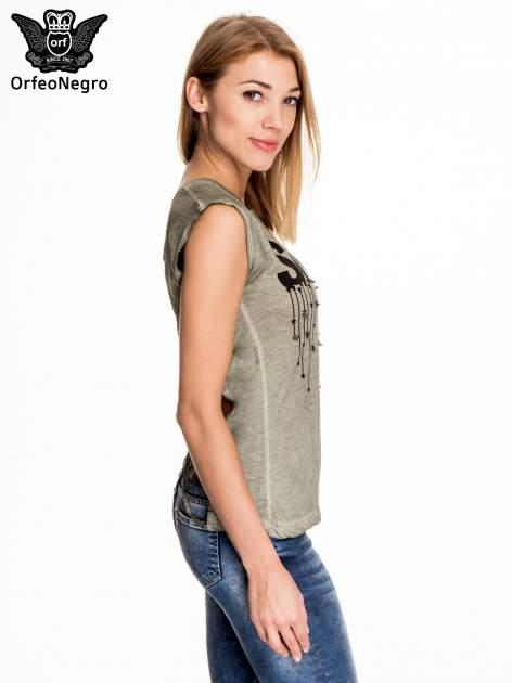 Khaki t-shirt z nadrukiem SHINE z gwiazdkami                                  zdj.                                  3