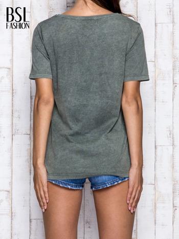 Khaki t-shirt z napisem NEW YORK                                  zdj.                                  2