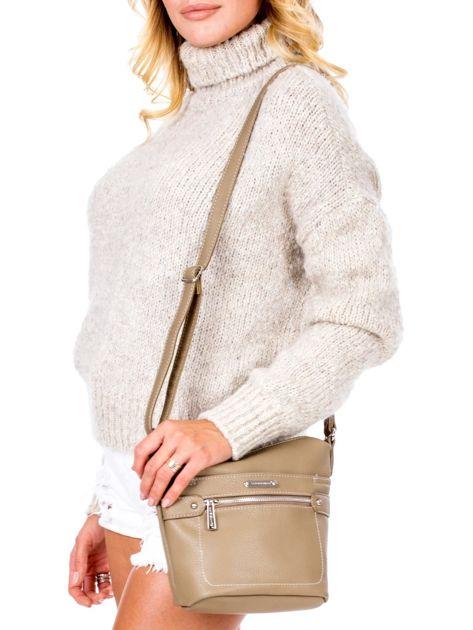 Khaki torba listonoszka z kieszeniami                               zdj.                              1
