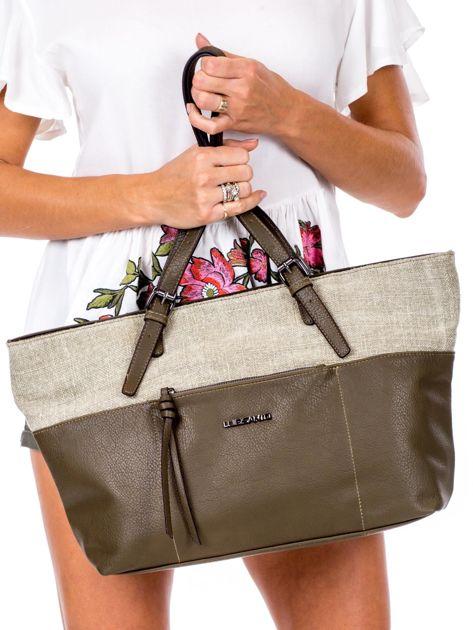 Khaki torba shopper z materiałową wstawką                              zdj.                              2